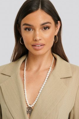NA-KD Accessories Uneven Long Pearl Necklace - White
