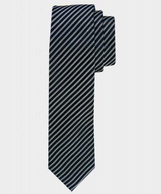 Michaelis Michaelis heren gestreepte smalle zijden stropdas zwart