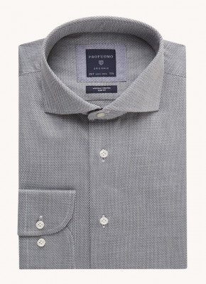 Profuomo Profuomo Slim fit strijkvrij overhemd met microdessin