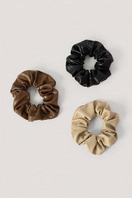NA-KD Accessories Scrunchies Van Pu - Black,Brown,Beige