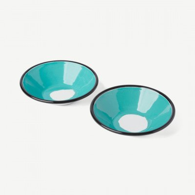 MADE.COM Kapka set van 2 Colour Swirl onbijtkomen, geemailleerd, groen