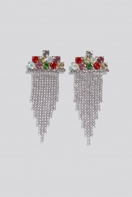 NA-KD Accessories NA-KD Accessories Multi Color Hanging Strass Earrings - Multicolor