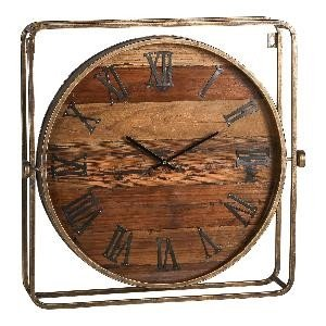 Firawonen.nl PTMD rovers metaal houten klok vierkant