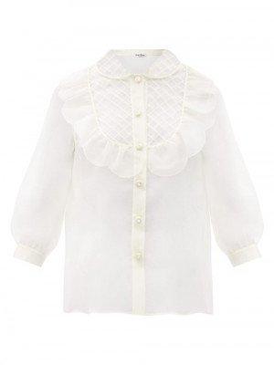 Matchesfashion Miu Miu - Crystal-button Silk-organza Blouse - Womens - Ivory