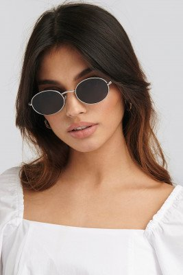 NA-KD Accessories NA-KD Accessories Oval Metal Frame Sunglasses - Silver