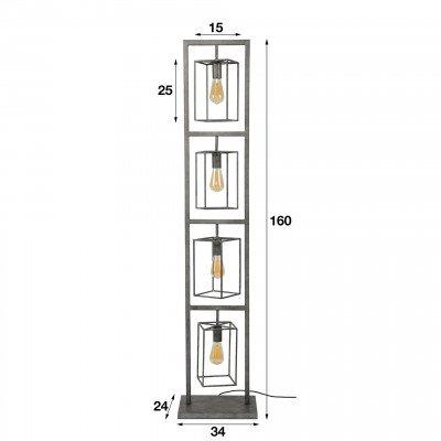 LifestyleFurn Vloerlamp 'Chevy' 4-lamps 160cm