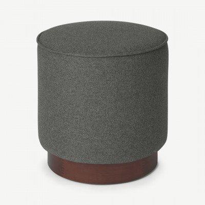 MADE.COM Hetherington kleine poef met houten onderkant, Coventry grijs en donkergebeitst hout