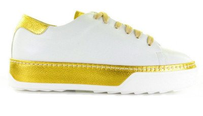 Franco Russo Franco Russo 3303-3 Wit/Geel Damessneakers