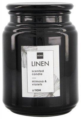 HEMA Geurkaars In Glazen Pot Ø10x14 Linen (zwart)