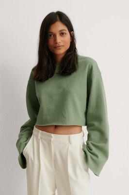 NA-KD NA-KD Organisch Sweatshirt Met Wijde Mouwen En Kniprand - Green