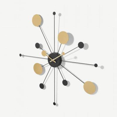 MADE.COM Galex statement retro wandklok, groot, 62 cm, zwart en messing