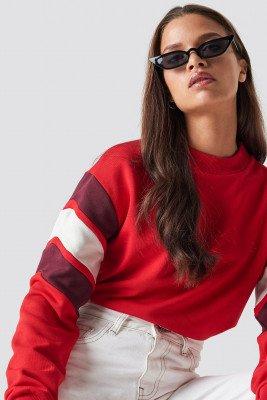 NA-KD NA-KD Blocked Bicep Sweatshirt - Red