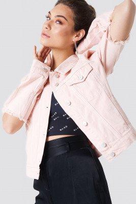 NA-KD NA-KD Cut Out Sleeve Denim Jacket - Pink
