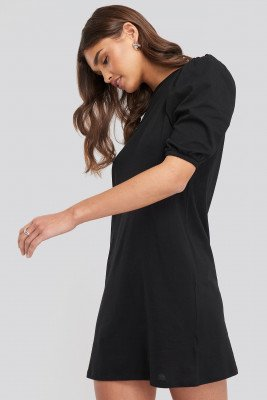 NA-KD T-shirt Puff Sleeve Dress - Black