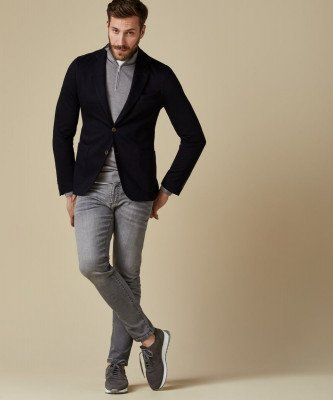 Profuomo Profuomo heren navy knitted colbert