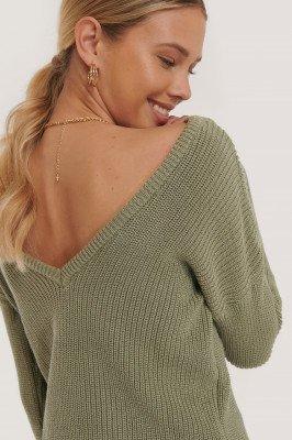NA-KD NA-KD Knitted Deep V-neck Sweater - Green