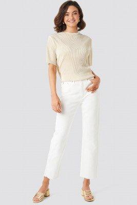 NA-KD NA-KD Raw Hem Straight Jeans - White