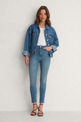 NA-KD NA-KD Organisch Skinny Petite Jeans Met Hoge Taille - Blue