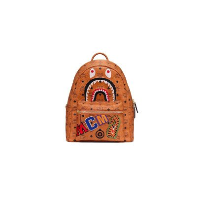 Brands-Other Brands-Other x MCM Monogram Leather BAPE Backpack Cognac (2019)