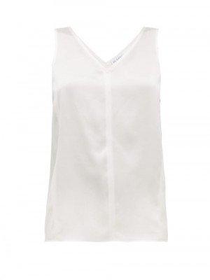 Matchesfashion Raey - High V-neck Silk Cami Top - Womens - Ivory