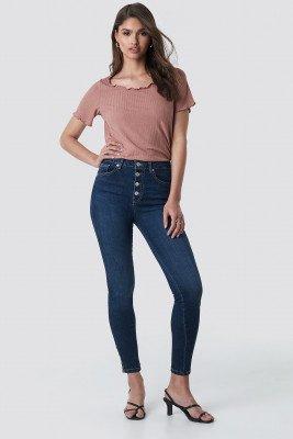 NA-KD NA-KD Skinny High Waist Zipper Jeans - Blue