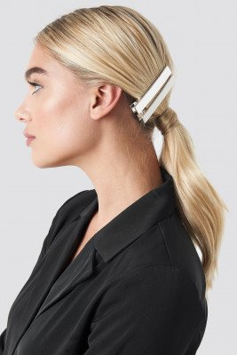 NA-KD Accessories NA-KD Accessories Double Pack Squared Hairclip - Silver