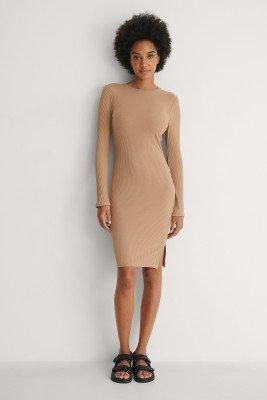NA-KD Basic NA-KD Basic Ribbed Long Sleeve Dress - Beige