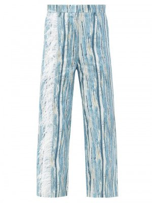 Matchesfashion Thebe Magugu - Feather-trimmed Shredded Denim-print Cotton Jeans - Womens - Blue Stripe