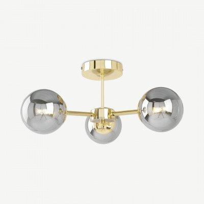 MADE.COM Globe plafondlamp, messing en rookglas