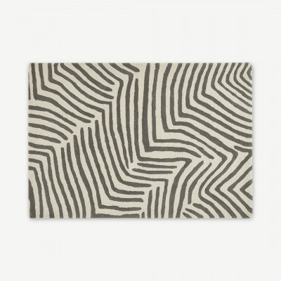 MADE.COM Larkin handgetuft vloerkleed van wol, groot, 160 x 230cm, ecru en warmgrijs