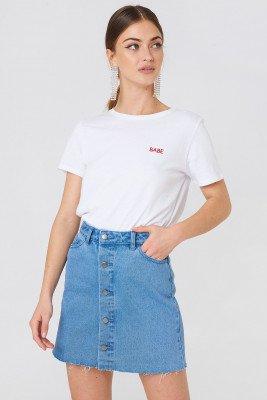 NA-KD NA-KD Button Up Raw Hem Denim Skirt - Blue