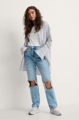 NA-KD Trend NA-KD Trend Rechte Versleten Jeans Met Hoge Taille - Blue