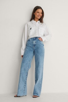 NA-KD Trend NA-KD Trend Organisch Rechte Jeans Met Ruwe Zoom - Blue