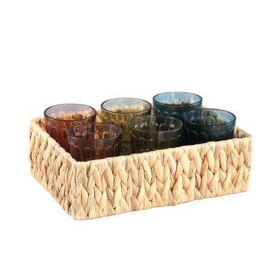 Firawonen.nl Ptmd hadley glas kleurrijk 6 glasses in rieten bak