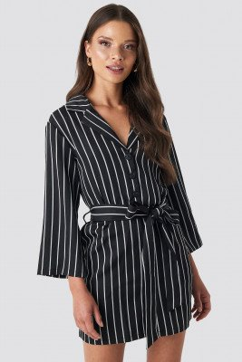 NA-KD NA-KD Striped Playsuit - Black