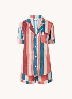 Desmond en Dempsey Desmond & Dempsey Pyjamaset van katoen met print