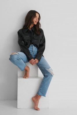 Trendyol Trendyol Ripped Straight Jeans - Blue