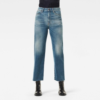 G-Star RAW Tedie Ultra High Straight Raw Edge Ankle Jeans - Midden blauw - Dames