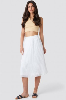 NA-KD Pleated Midi Skirt - White