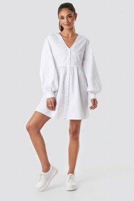 NA-KD Boho NA-KD Boho Balloon Sleeve Mini Shirt Dress - White