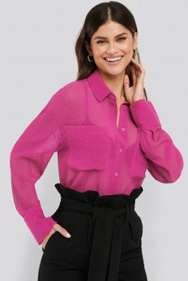 NA-KD Classic NA-KD Classic Oversized Structured Pocket Blouse - Pink