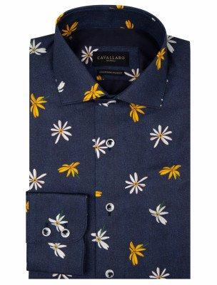 Cavallaro Napoli Cavallaro Napoli Heren Overhemd - Fiorello Overhemd - Donkerblauw