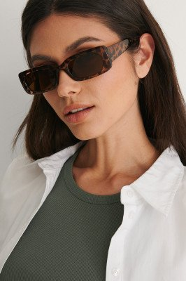 NA-KD Accessories NA-KD Accessories Brede Zonnebril Met Retro-Look - Brown