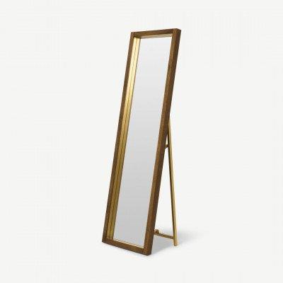 MADE.COM Emsworth staande spiegel, 160 x 48 cm, mango hout en messing
