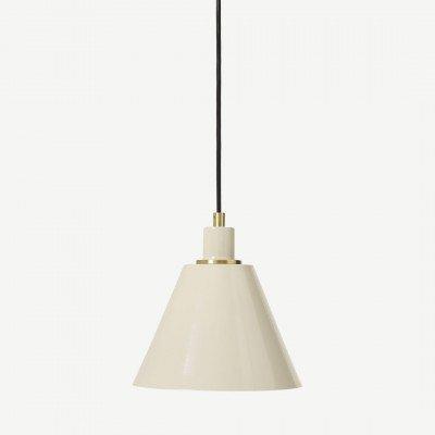MADE.COM Testa badkamer hanglamp, geborsteld messing en roomwit