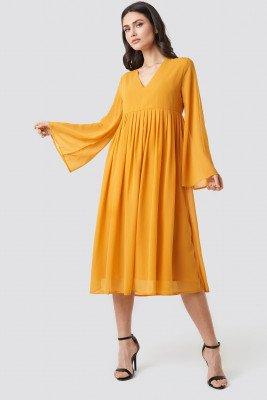 NA-KD Boho NA-KD Boho Wide Sleeve Flowy Chiffon Dress - Yellow