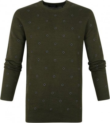 Scotch and Soda Scotch and Soda Pullover Jacquard Donkergroen