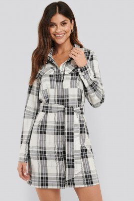 NA-KD Classic Plaid Belted Shirt Dress - Multicolor