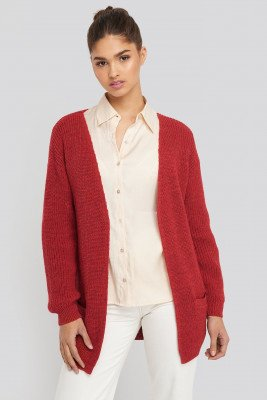 NA-KD Slouchy Open Front Cardigan - Red