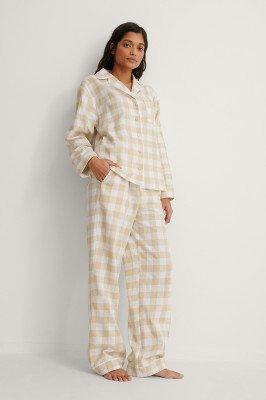 NA-KD Lingerie NA-KD Lingerie Flannel Pyjamas Pants - Beige